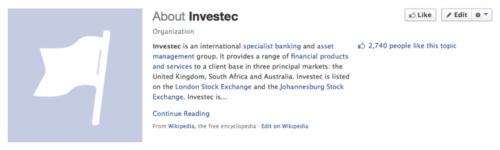 Investec Facebook page